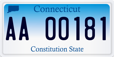 CT license plate AA00181