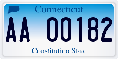 CT license plate AA00182