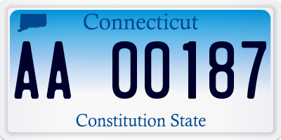 CT license plate AA00187
