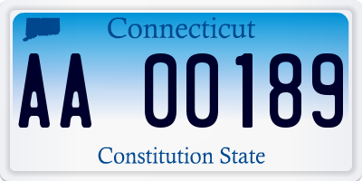 CT license plate AA00189