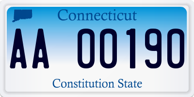 CT license plate AA00190