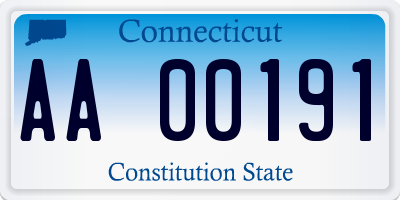 CT license plate AA00191