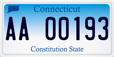 CT license plate AA00193