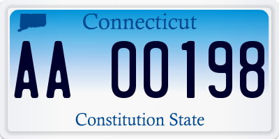 CT license plate AA00198
