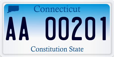 CT license plate AA00201