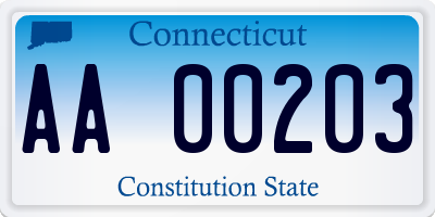 CT license plate AA00203