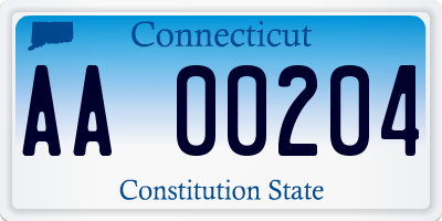 CT license plate AA00204