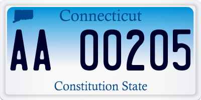 CT license plate AA00205