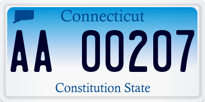 CT license plate AA00207