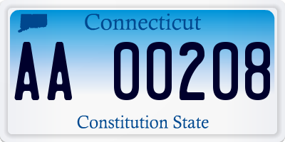 CT license plate AA00208