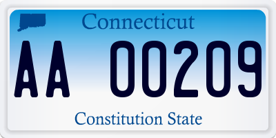 CT license plate AA00209