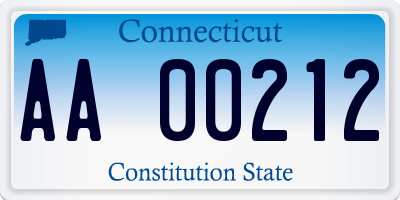 CT license plate AA00212