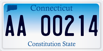 CT license plate AA00214