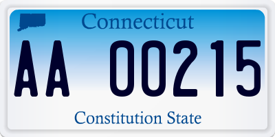 CT license plate AA00215