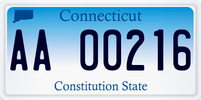 CT license plate AA00216