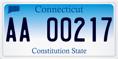 CT license plate AA00217