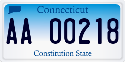 CT license plate AA00218