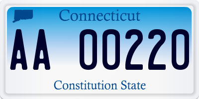 CT license plate AA00220
