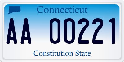 CT license plate AA00221