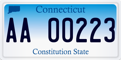 CT license plate AA00223