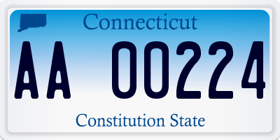 CT license plate AA00224