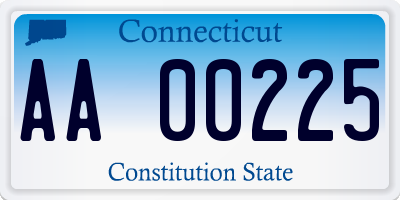 CT license plate AA00225