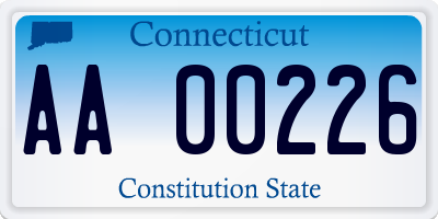 CT license plate AA00226