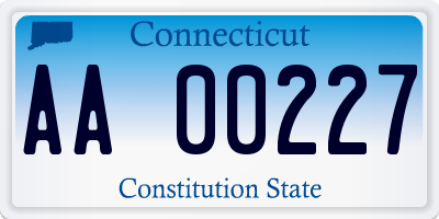 CT license plate AA00227