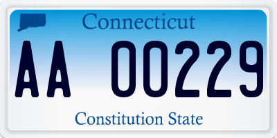 CT license plate AA00229