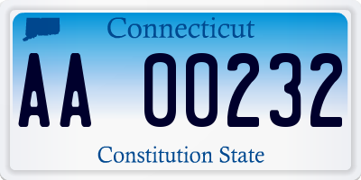 CT license plate AA00232