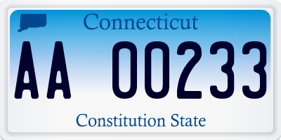 CT license plate AA00233
