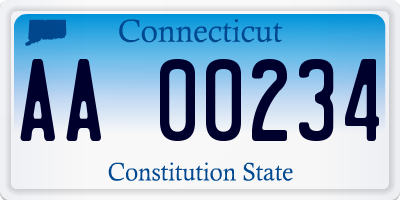 CT license plate AA00234
