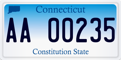 CT license plate AA00235