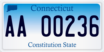 CT license plate AA00236