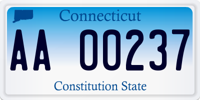 CT license plate AA00237