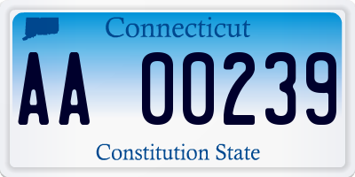 CT license plate AA00239