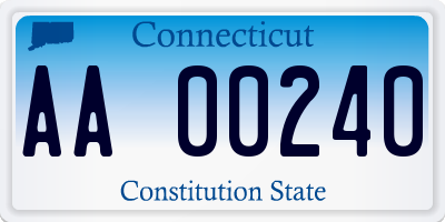 CT license plate AA00240