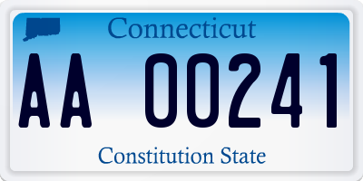 CT license plate AA00241