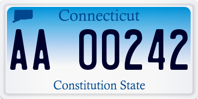 CT license plate AA00242