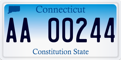 CT license plate AA00244