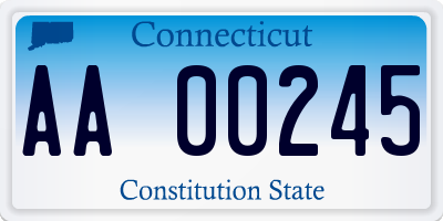 CT license plate AA00245