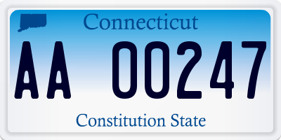CT license plate AA00247