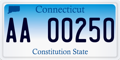 CT license plate AA00250