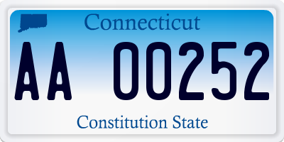 CT license plate AA00252