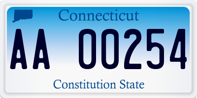 CT license plate AA00254