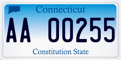 CT license plate AA00255