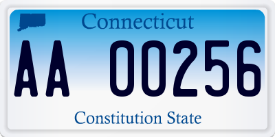 CT license plate AA00256