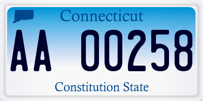 CT license plate AA00258