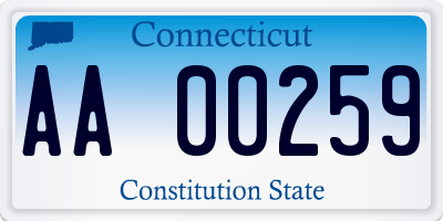 CT license plate AA00259