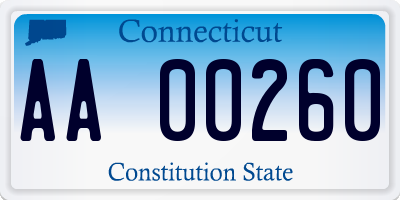 CT license plate AA00260